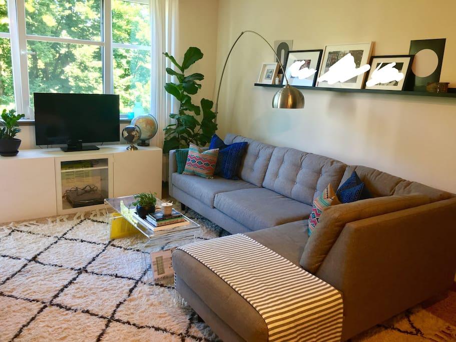 Living Room, TV, Record Player, Hulu, Netflix, Apple TV, Oh My!