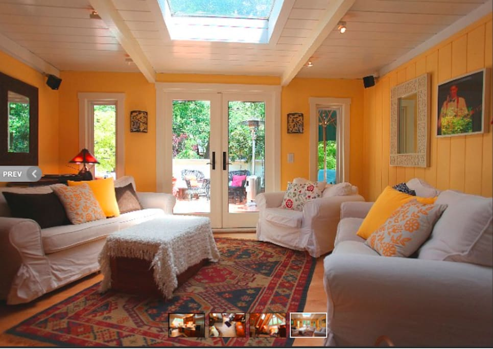 Living room and French doors onto the deck.