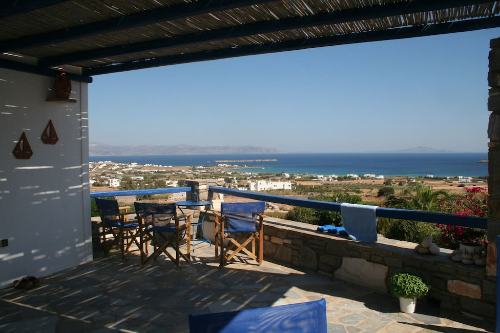 The veranda is overlooking the Aegean Sea and seven islands.This is a small part of the spetacular view!