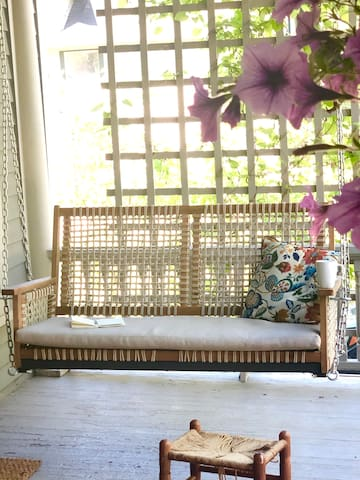 The front porch swing is the perfect place for a morning coffee.