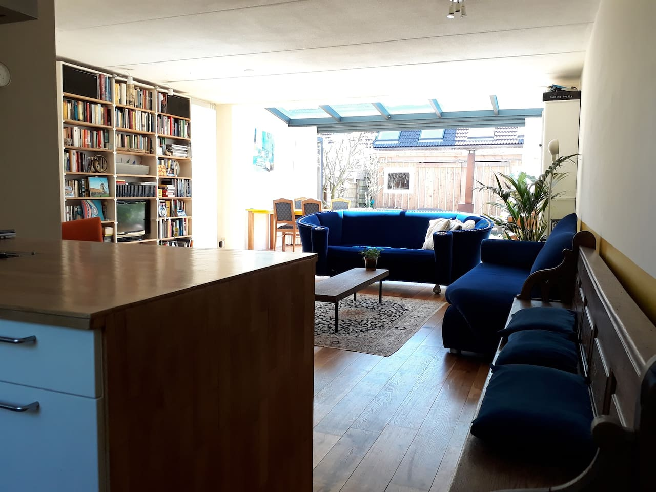 Spacious extended living room with conservatory and kitchen