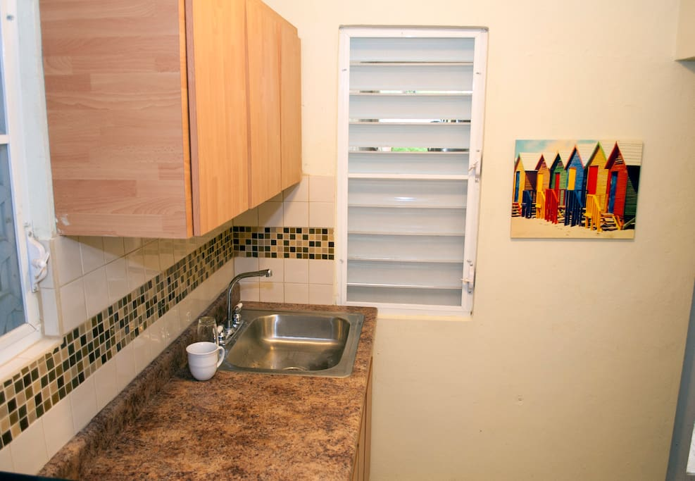Kitchen with all the necessities. Hotplate, coffeemaker, microwave, refrigerator, etc.