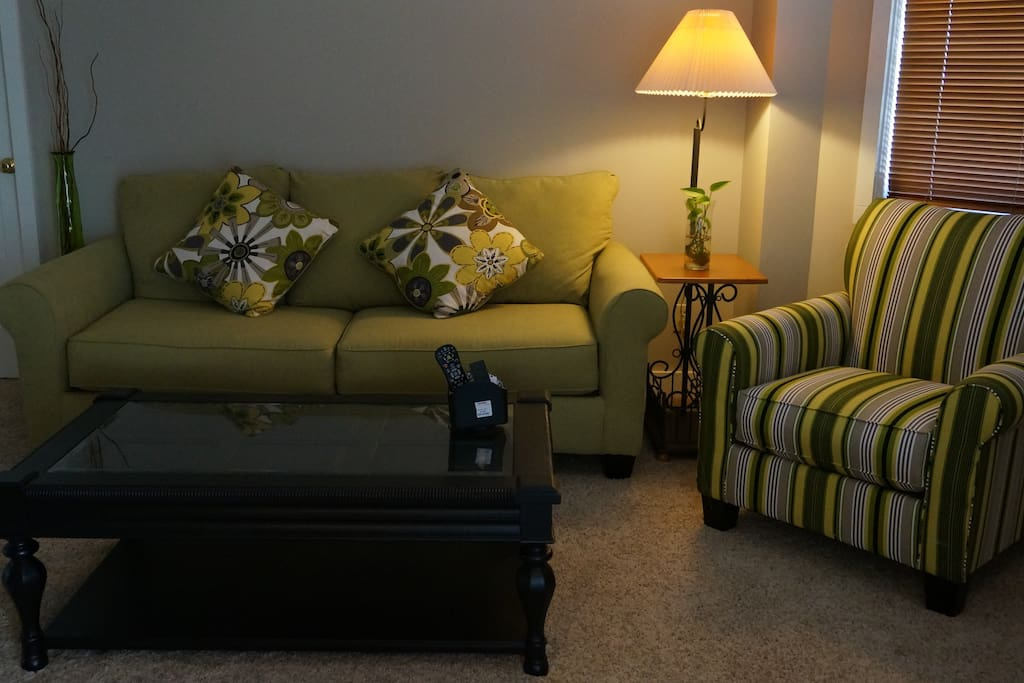 Living room.  Entirely new furnishings and carpeting.