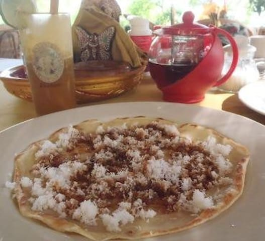 Breakfast consists of pancake, eggs or toast with fresh fruit or juice and tea/coffee