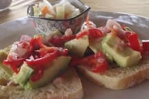 Avacado on toast with balinese sauce (chillies and shallots), served with a small side salad. Great for a snack or light meal!