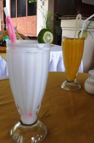 Coconut juice and mango juice