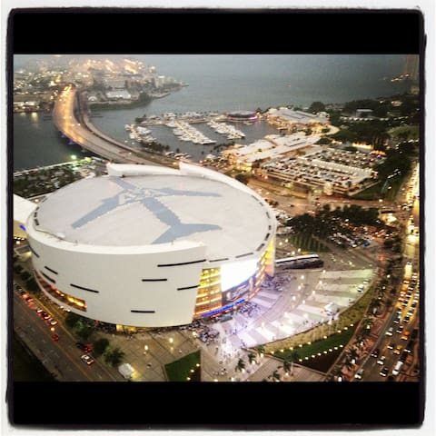 View right on top of Heat Arena on Game night!