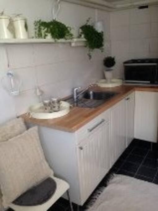 Kitchen with fridge and stove.