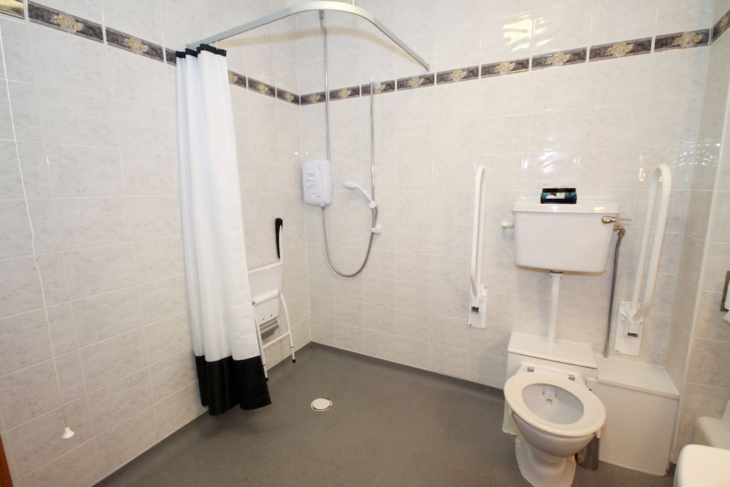 Disabled-Access Room Bathroom with roll-in shower, handrails on toilet, lowered fixtures and shower seat.