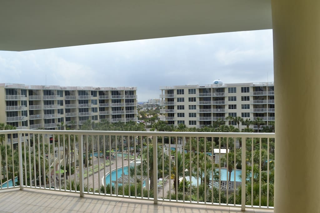 Balcony View - this is what you'll enjoy every day!  Lazy River, hot tubs and pools.