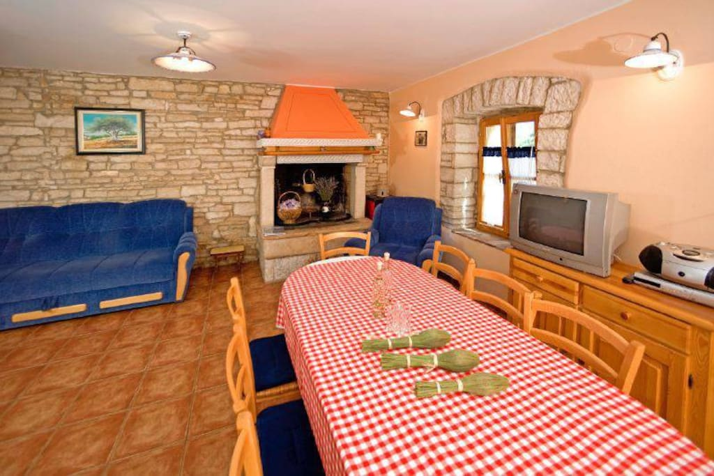 You and your familiy and friends can have any kind of meal in front of fireplace and experience the real life on village.