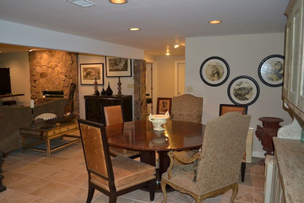 Dining area is perfect for a nice dinner or a game of cards.  You can also use it as a work space, although there is a desk, as well.
