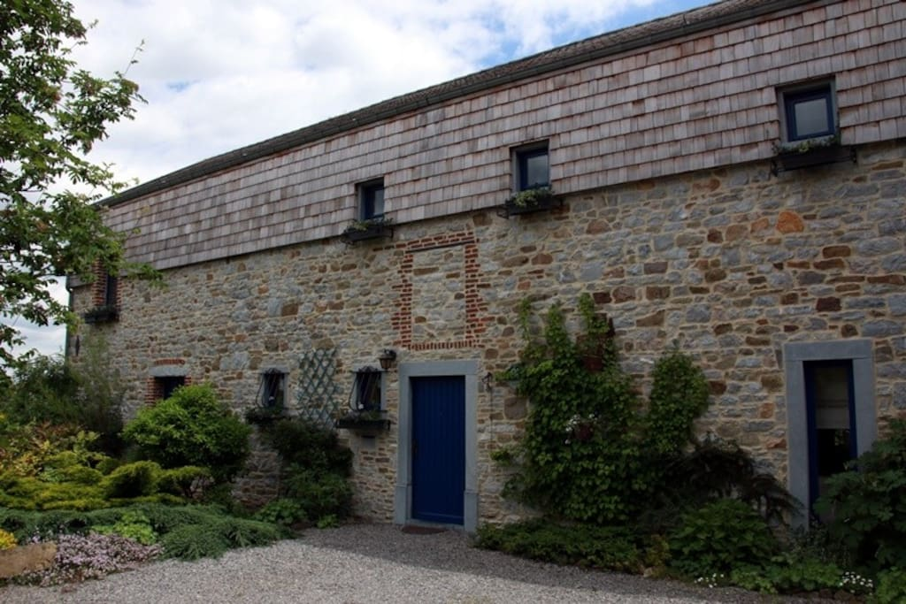 The restored facade of our 17th century farm