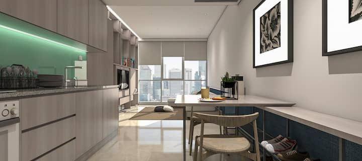 NEW fully furnished 1 bedroom smack in the city