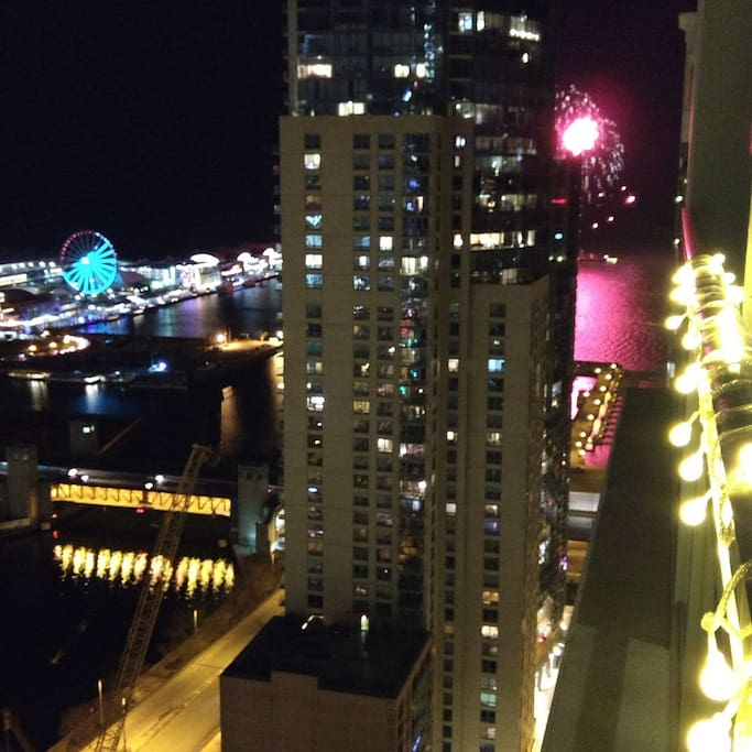 East view off the balcony of Navy Pier, the Ferris wheel and the weekly fireworks