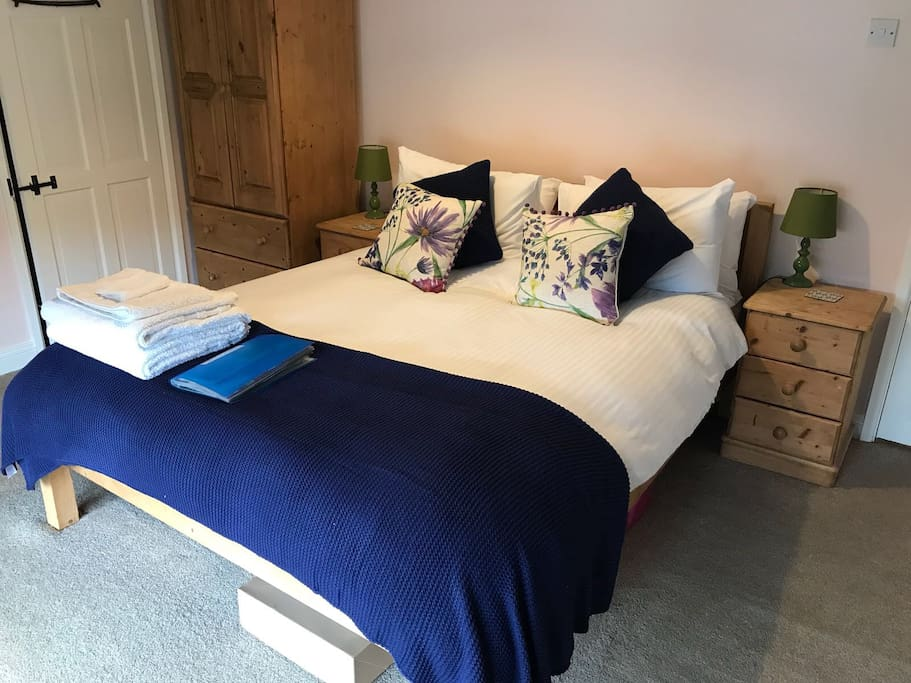King size room with ensuite shower, toilet and sink area