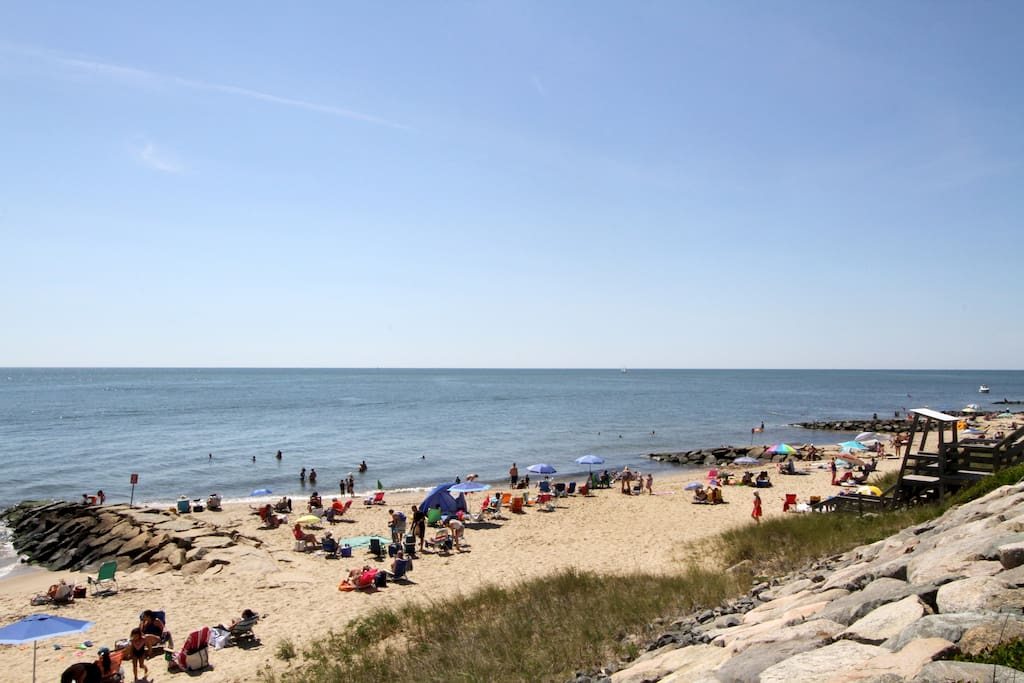 Curl your toes into the sand at Sea Street Beach, a short walk away