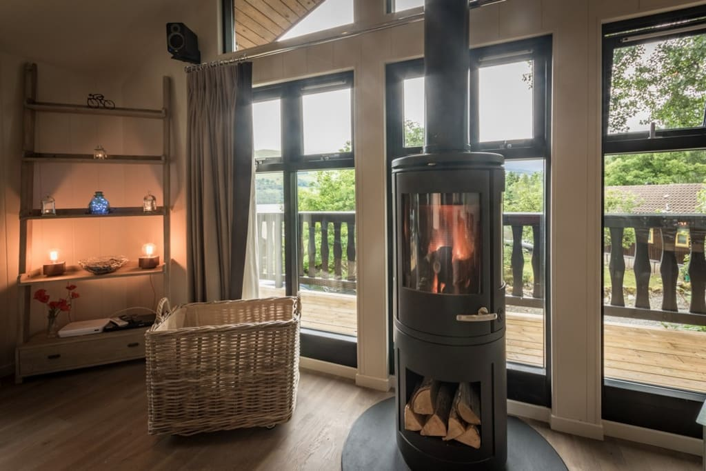 Log Burner looking out over the Loch