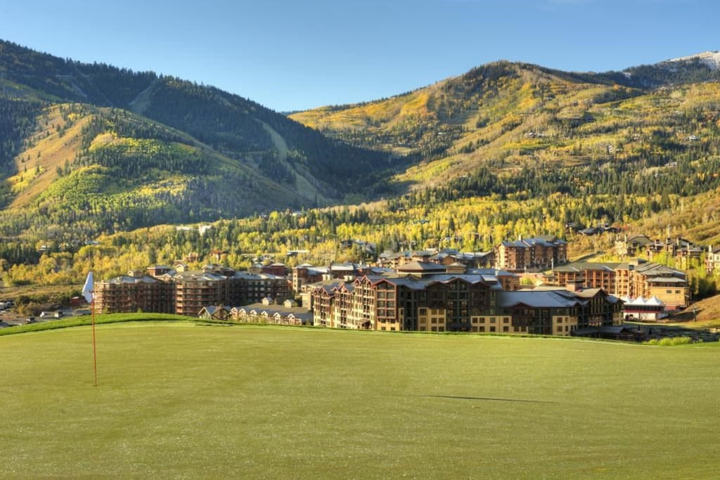 The hotel in nestled in between golf courses and mountain