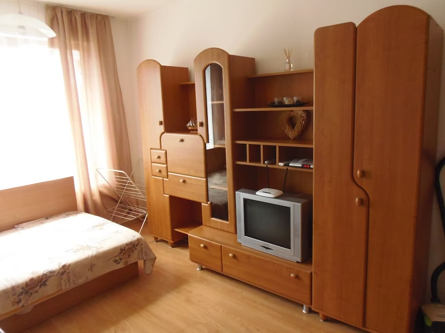 Television set and drawers