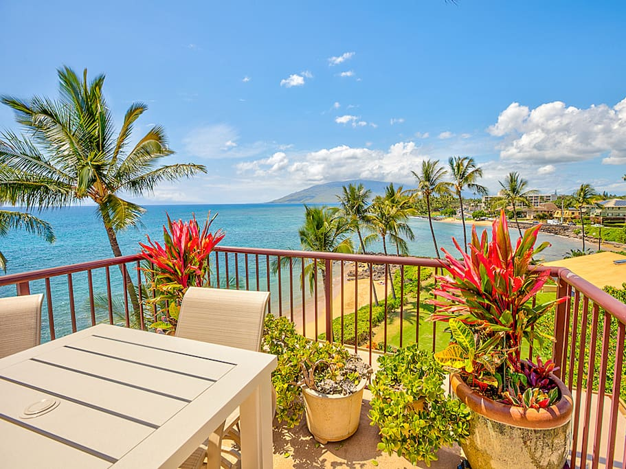 Ocean view from the lanai of the penthouse which includes several seating areas