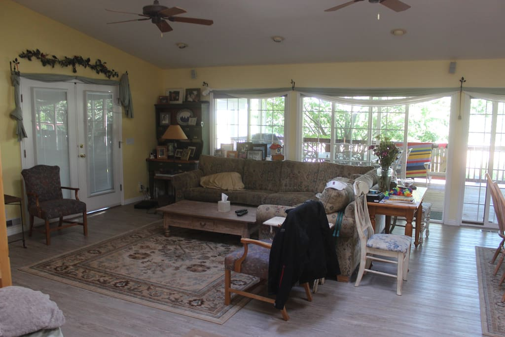 Large family room with outside and inside dining