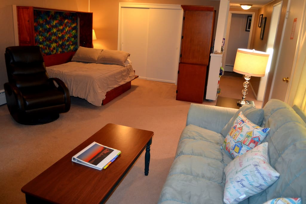Double bed with pillowtop mattress and down pillows. There is a 9 foot closet to store your clothes.