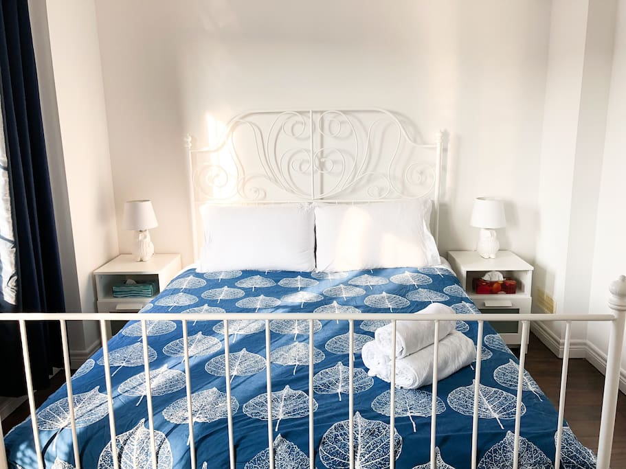 Bedroom is equipped with a queen sized bed and fresh white 100% cotton Bed Linens