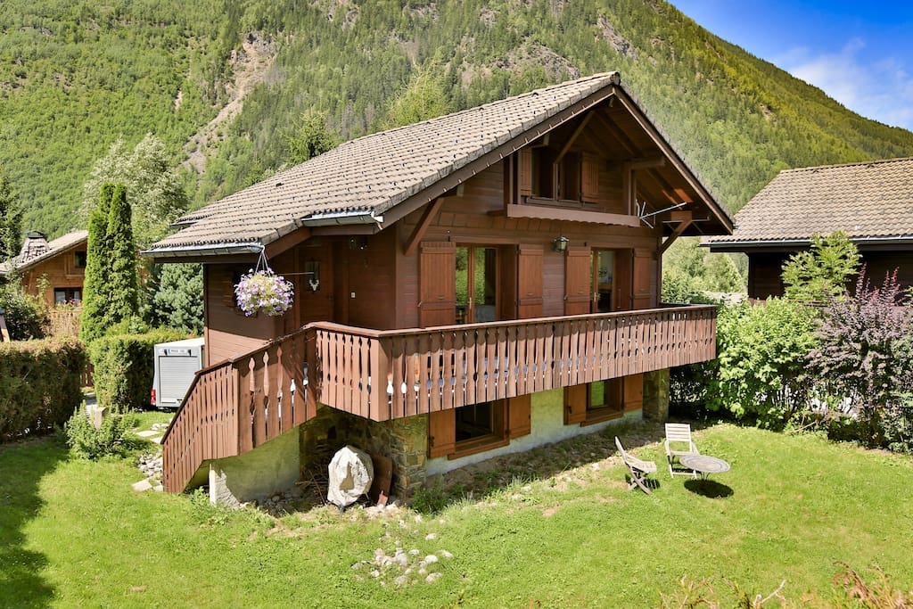 View of chalet from corner of garden. (Top 2 floors for guests)