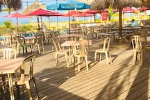 Here's the outdoor deck on the back of the Snack Shack on Archibald Beach just across the street from the Yacht Club.