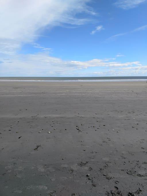 Beach, right across the street