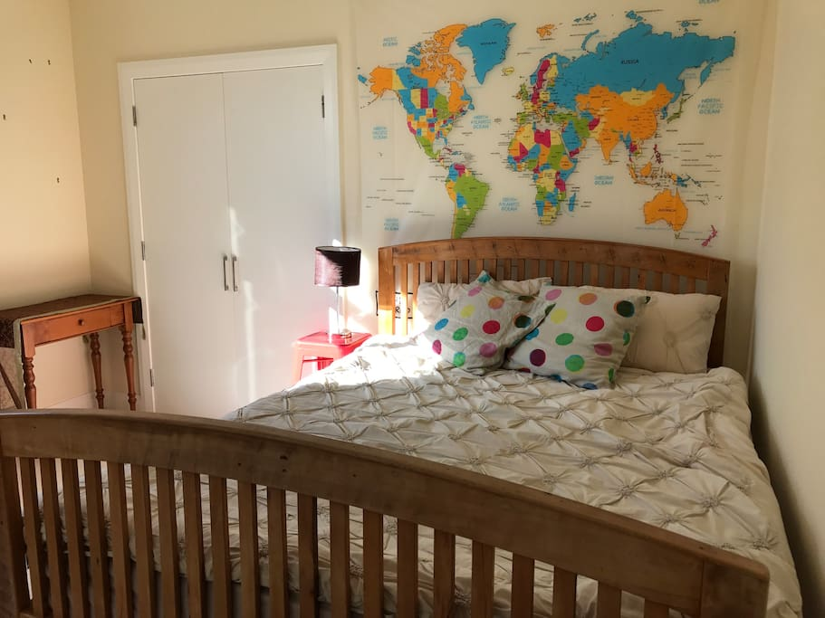"Guest bedroom - ""World map"" room sleep two. Additional pull out bed available for one child if required."