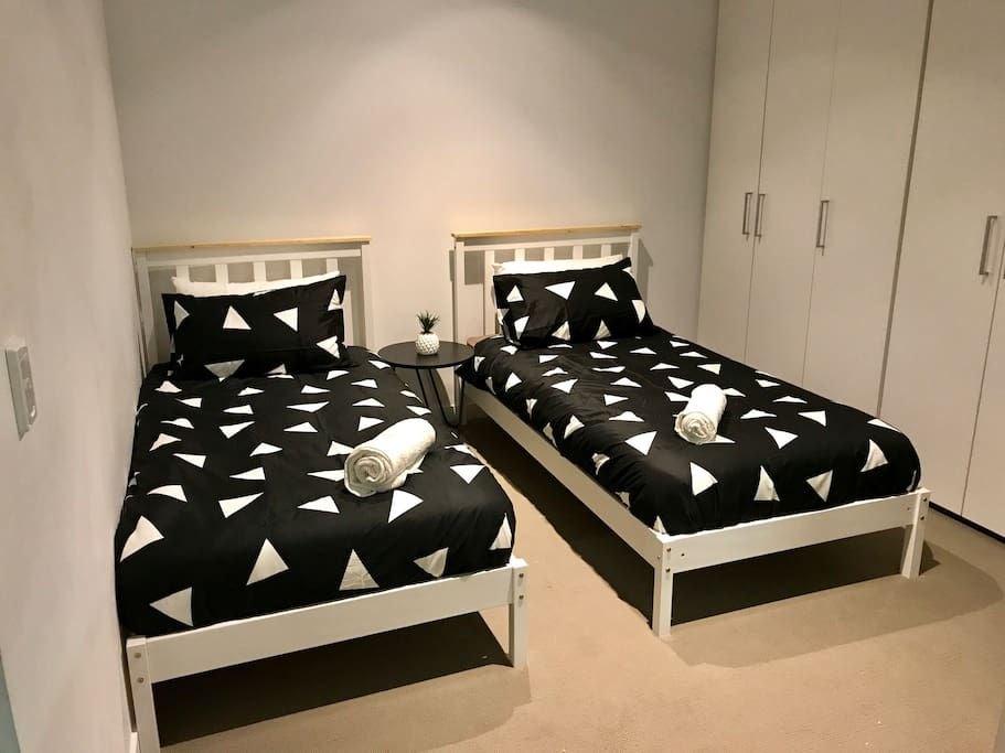 First bedroom has 2 single beds ( another picture with different sheets)