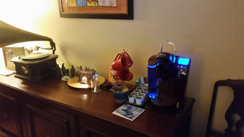 The coffee bar is always open!  The Tea station is just around the corner with over 15 different choices of herbal and black tea.