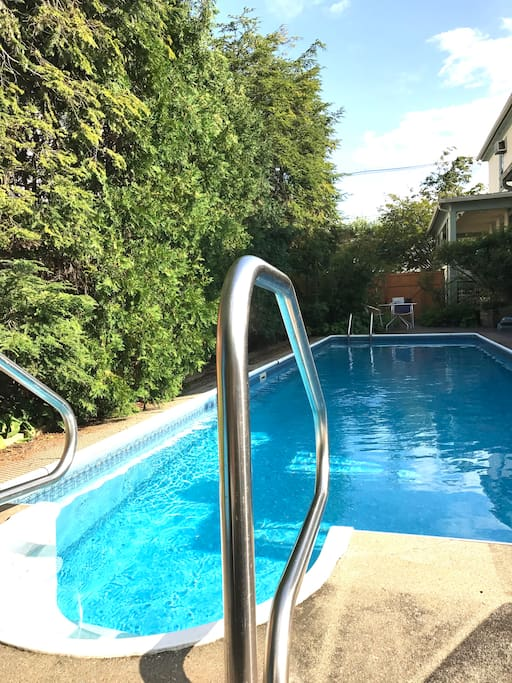 Tree-lined swimming pool (4' uniform depth) with sun chairs (open April to October, shared with owners and one other Airbnb apartment)