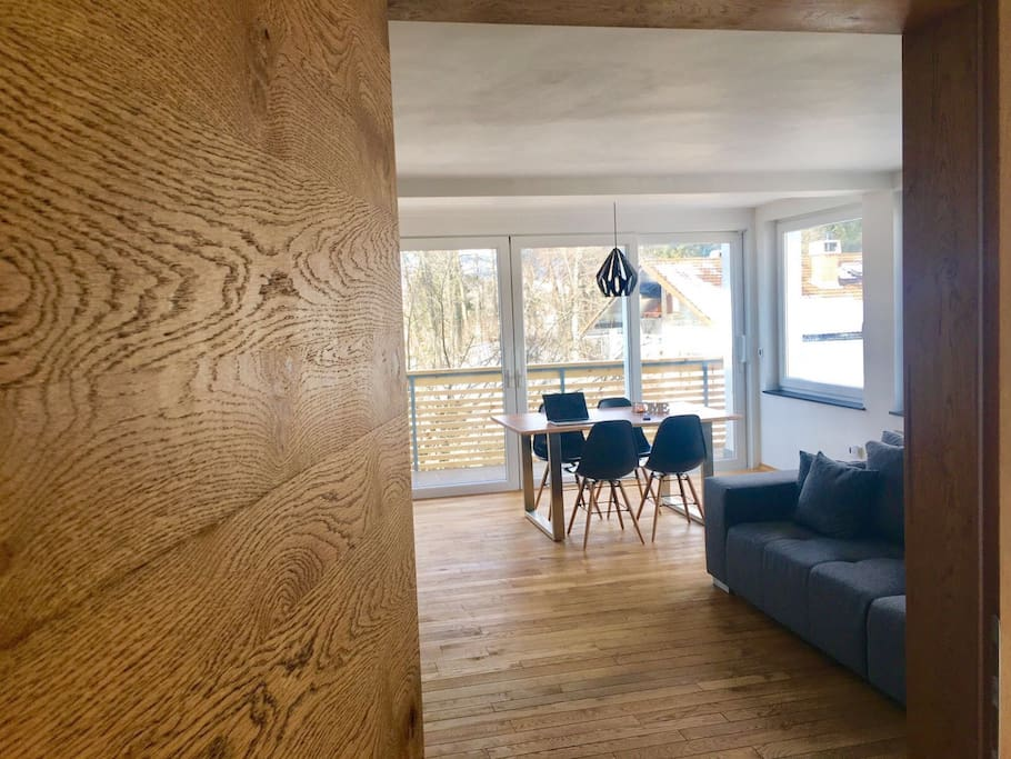 Wooden doors and floors match well with the nature environment.