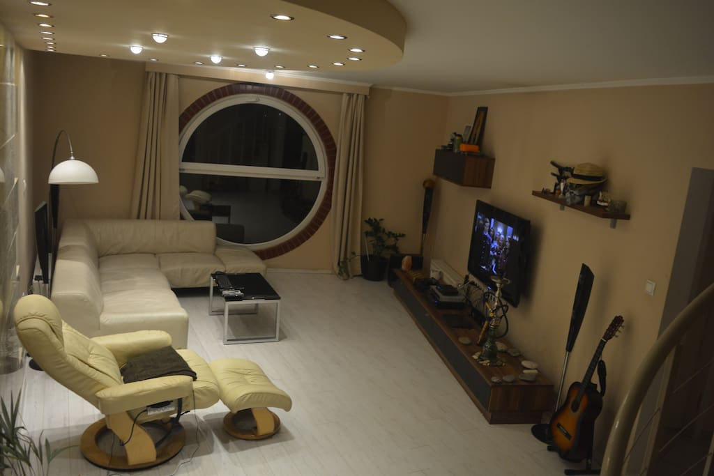 X box, water pipe, guitar, smart tv all at your dispossal