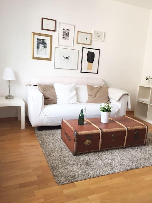Wohnzimmer mit Couch, Regalen, Tv, Wlan