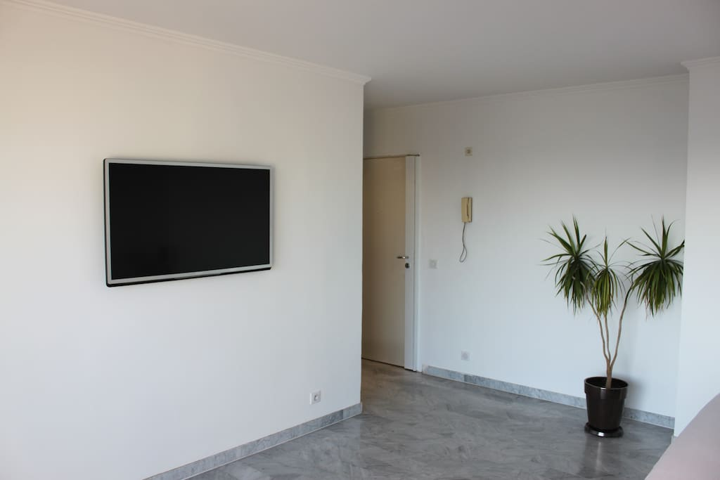 large LCD flat screen with cable chanel