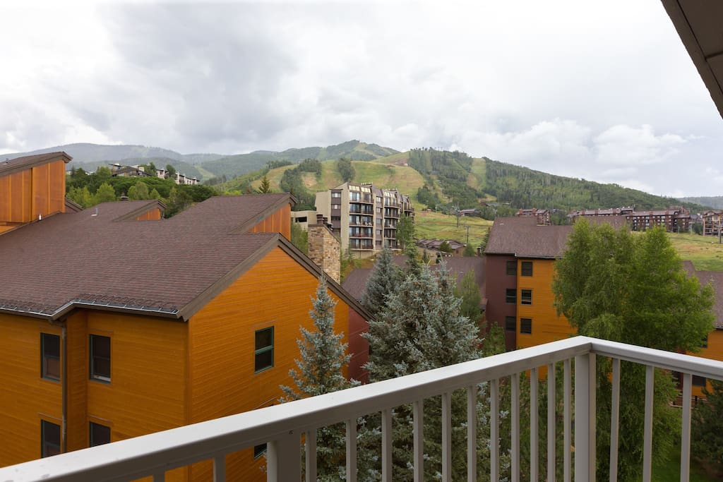 View of the slopes from the living room balcony.