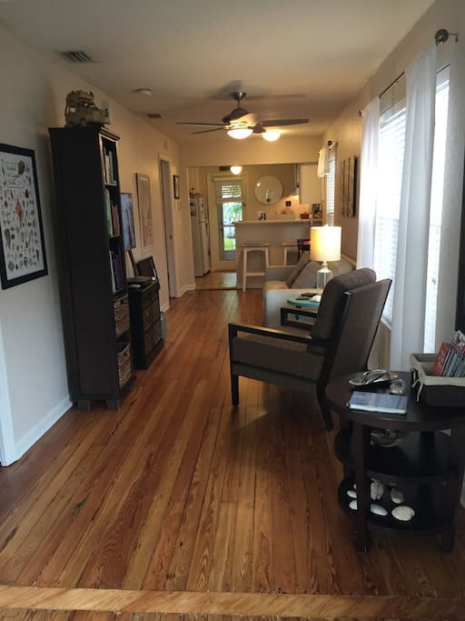 The view of the living room from the front door. The 100-year-old Dade Pine floors were refinished in Nov, 2016.