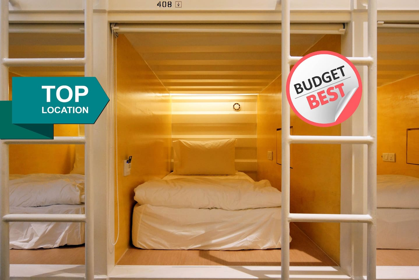 Individually-ventilated front entry capsule pod is fitted with a single bed.