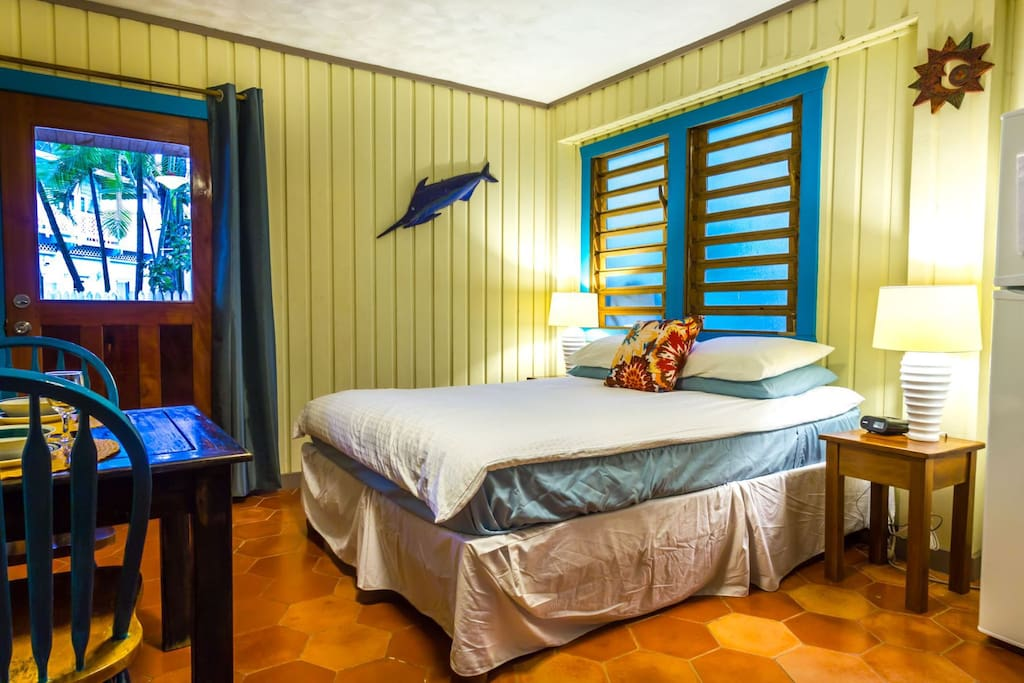 The studio is on the ground floor of a traditional Caribbean Beach Cottage