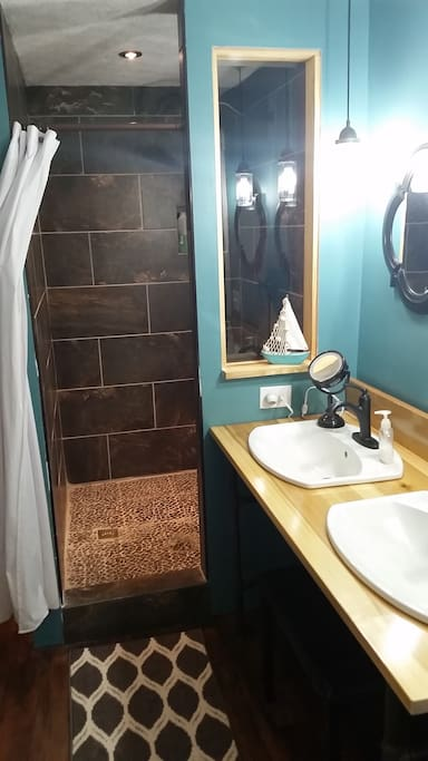 Double vanity with huge walk-in tile shower.  Newly renovated.