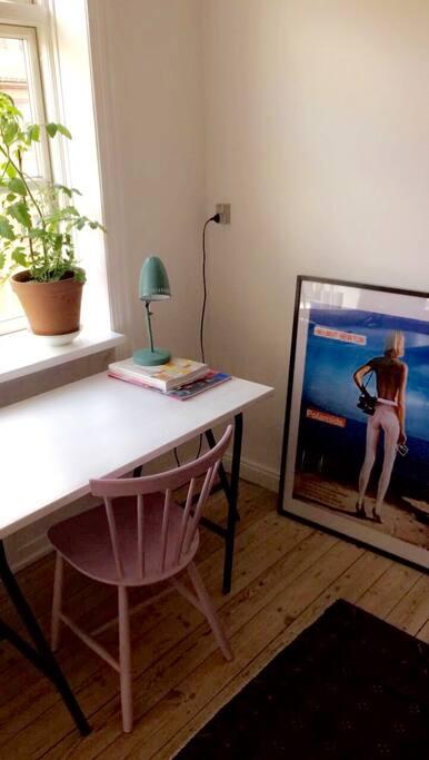 The desk in the livingroom