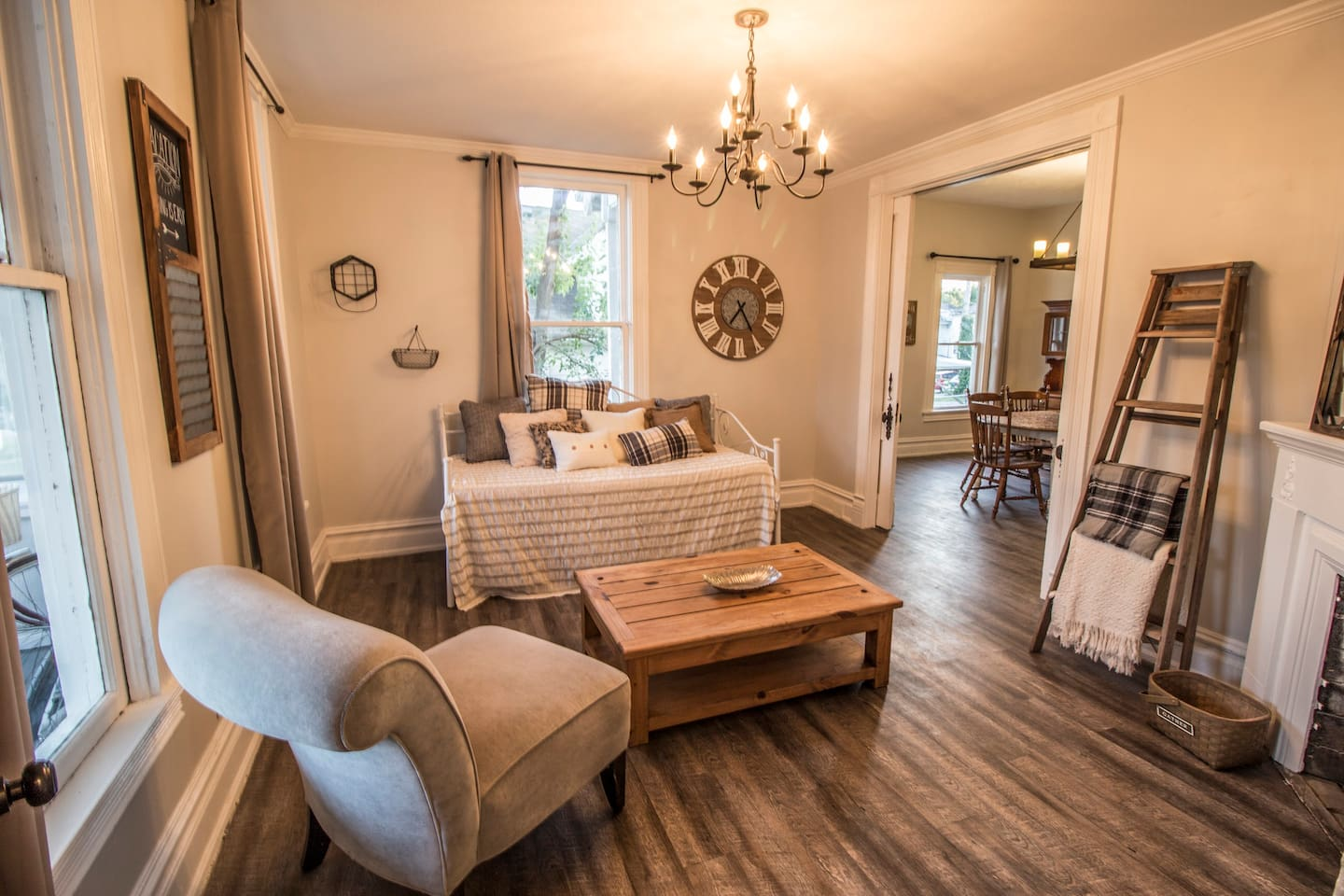 Need a 2nd bedroom?! Living room transforms into a bedroom! Features a daybed with pull out trundle and sliding pocket doors that lock for privacy!