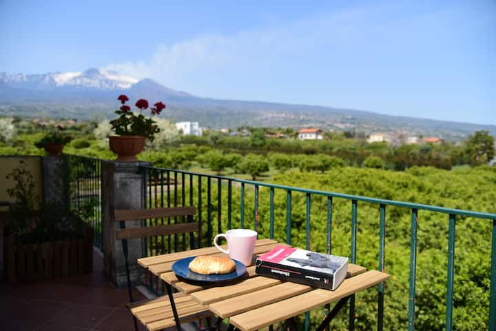 Suite for families with  view on Etna and the sea