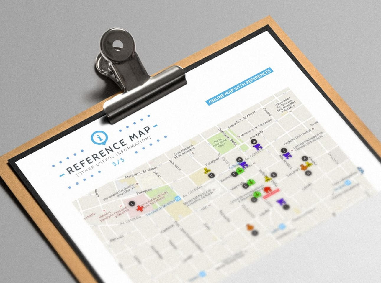 All the information in the apartment is detailed in super easy access maps!