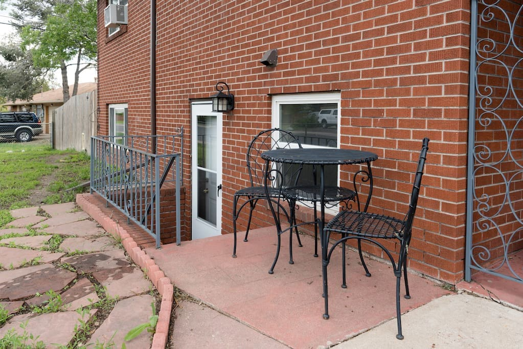 Wrought iron table and chairs.  Please use them if you'd like to.