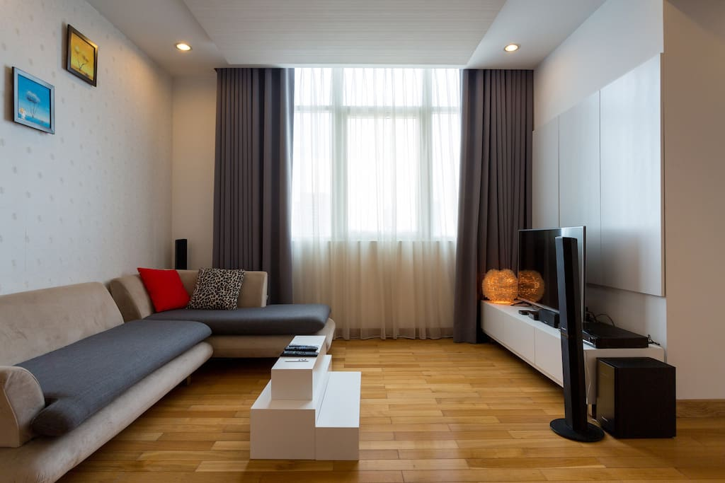 Living room with 50 in TV , Bluetooth sound bar